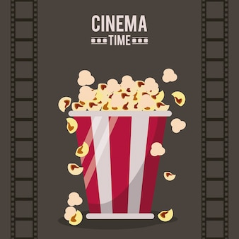 Colorful poster of cinema with film tape and popcorn pack