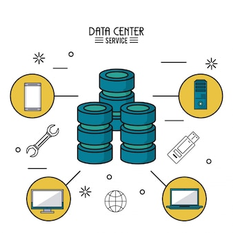 Colorful poster of data center service with computer server