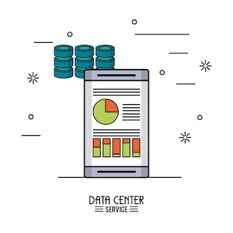 Colorful poster of data center service with smartphone with storage data