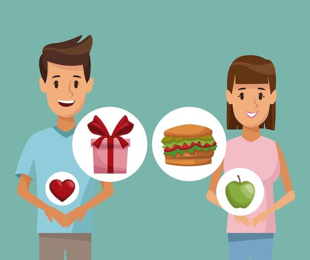Красочный плакат половину тела пара мужчина и женщина и значок элементов здоровой пищи подарки