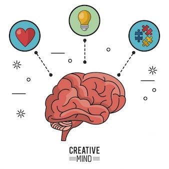 Красочный плакат творческого ума с мозгом и значками