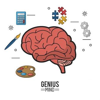 Красочный плакат гениального разума с мозгом в крупном размере