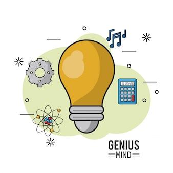 Красочный плакат гениального разума с лампочкой