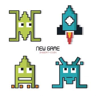 新しいゲームのカラフルなポスターは、空間ゲームのグラフィックスとコインを挿入