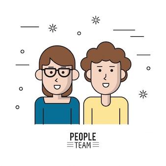 半身カップルの人々チームのカラフルなポスター