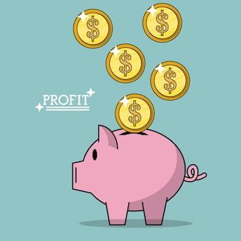돼지 저금통에 떨어지는 돈 동전과 이익의 화려한 포스터