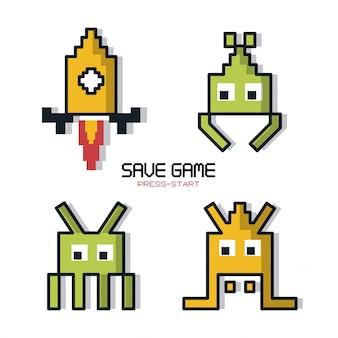 空間ゲームのグラフィックスで保存ゲームプレスのカラフルなポスター