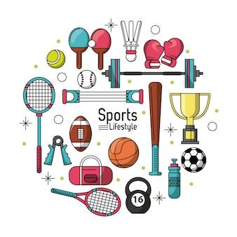 スポーツアイコンが設定されたスポーツライフスタイルのカラフルなポスター