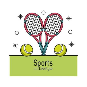 테니스 라켓과 공 스포츠 라이프 스타일의 화려한 포스터