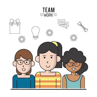 半身の女性とチームワークのカラフルなポスター
