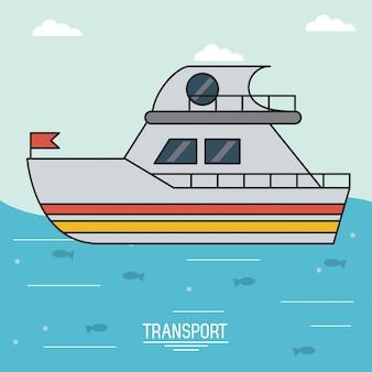 Красочный плакат транспорта с лодкой над водой