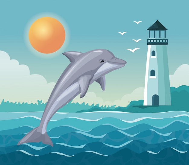 Colorful poster seaside with dolphin jump and lighthouse in coast
