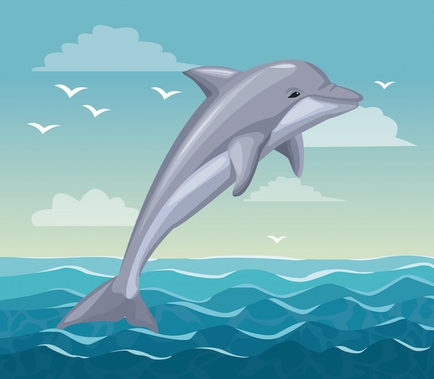 Colorful poster seaside with dolphin mammal in ocean