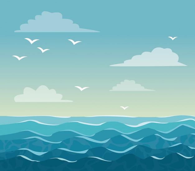 Colorful poster sky ocean landscape