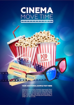 Colorful poster template for cinema time