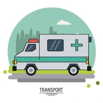 街の郊外にある救急車付きのカラフルなポスター