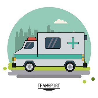 Colorful poster with ambulance in the outskirts of the city
