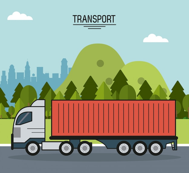 Colorful poster with cargo truck on the outskirts of the city