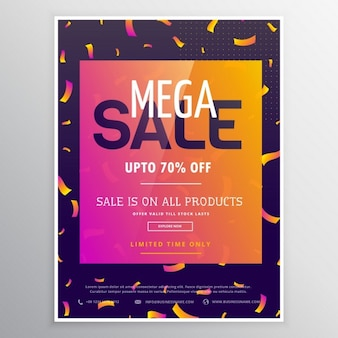 Colorful poster with confetti for discounts