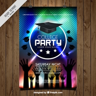 手と卒業キャップ背景にカラフルなポスター