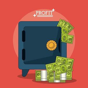 안전한 상자와 돈을 이익으로 화려한 포스터