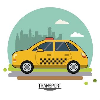 都市の郊外にタクシーでカラフルなポスター