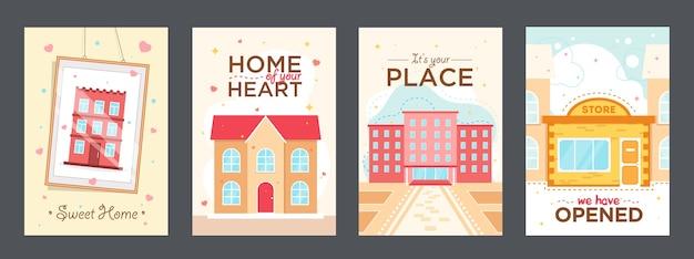 Красочные плакаты с домами векторные иллюстрации. яркие графические элементы с отелем, университетом и магазином. здания и концепция архитектуры