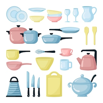 カラフルな鍋やフライパンのフラットセット。ガラス製品と調理器具のコレクション。キッチン食器。ザル、おろし金、まな板。調理器具機器が分離されました