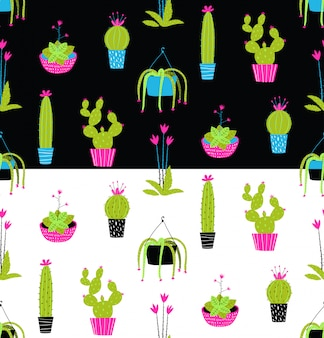Colorful potted cactus seamless pattern on black and white