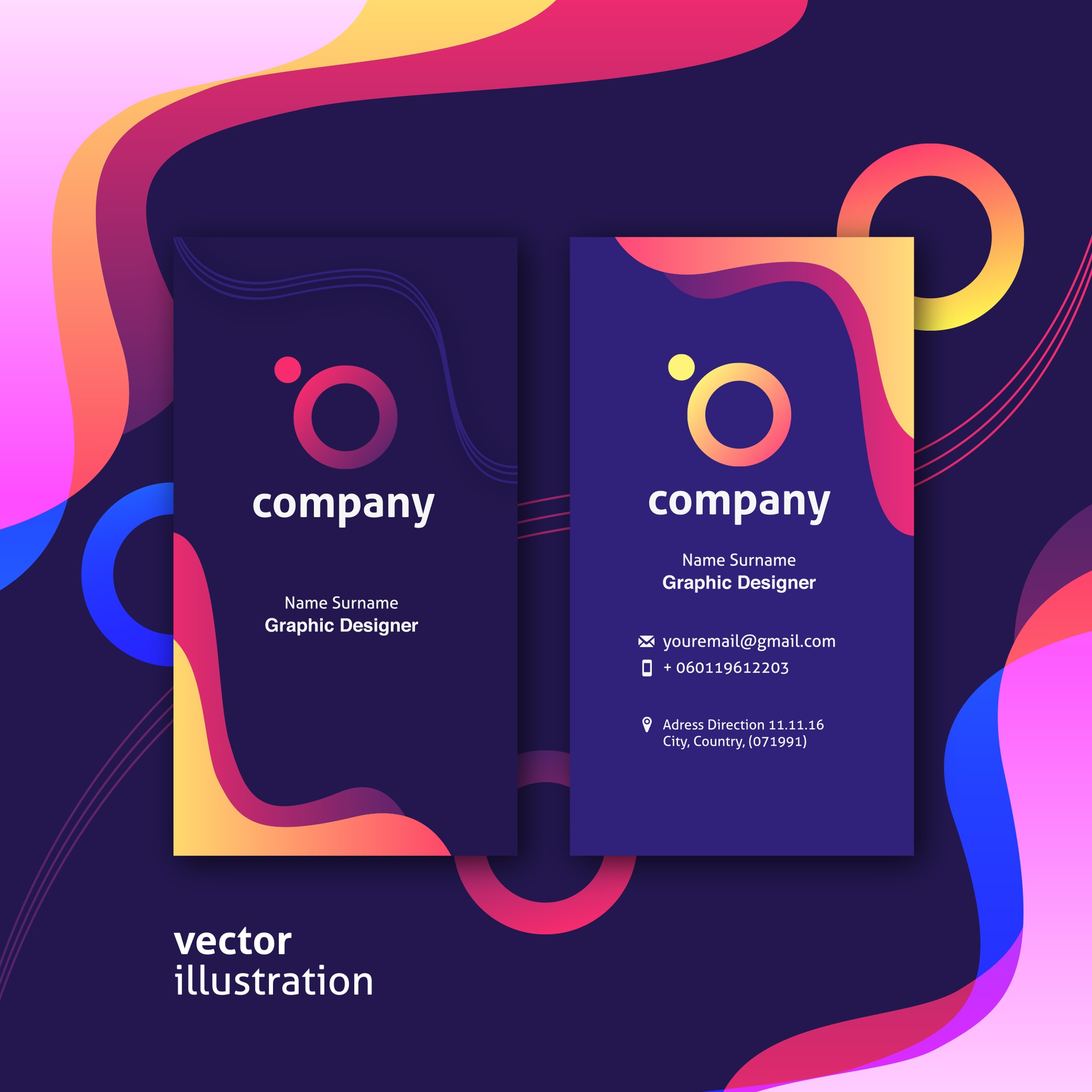 Colorful presentation cards with liquid shapes