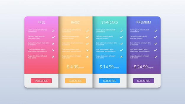 Colorful price table business template with three options