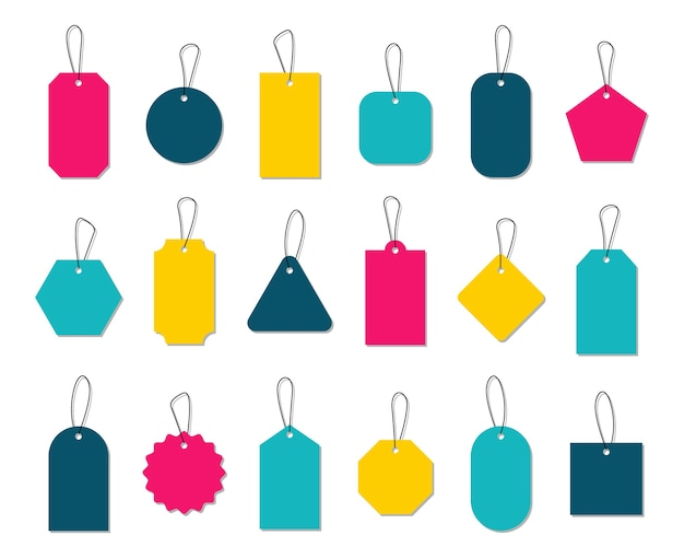 Colorful price tags, collection labels for promotion design.