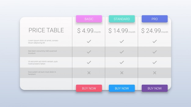 Colorful pricing plans template for web