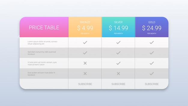 Colorful pricing table template for web