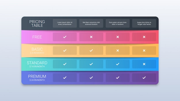 Colorful pricing table template on white
