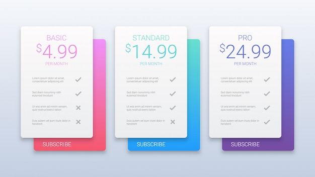 Colorful pricing table template