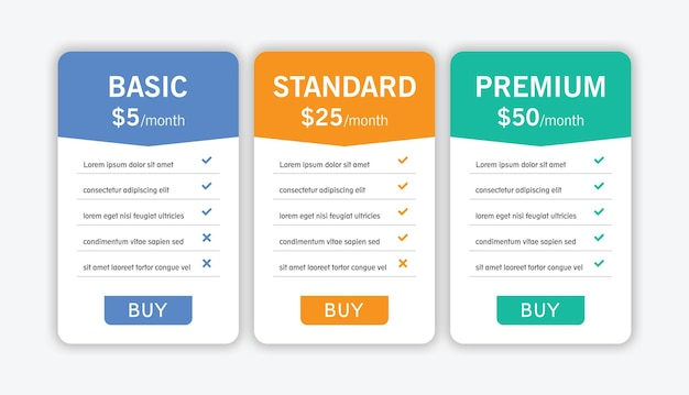 Colorful of pricing table with three options vector illustration on light gray background.