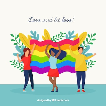 Colorful pride day flag background