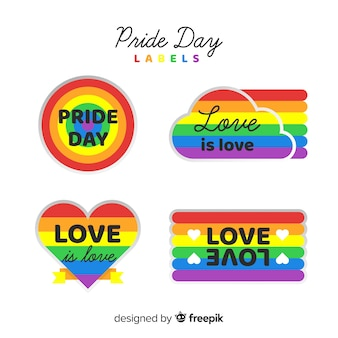Colorful pride day labels collection