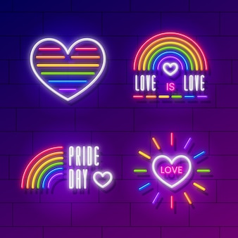 Colorful pride day neon signs