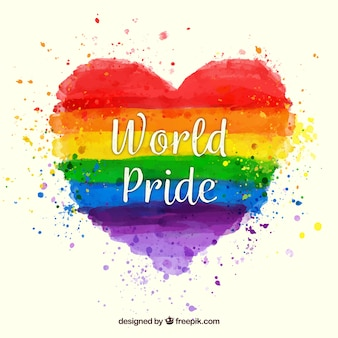 Colorful pride watercolor heart background