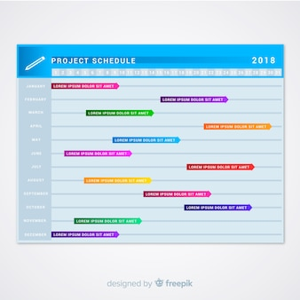 Colorful project schedule template with gradient style