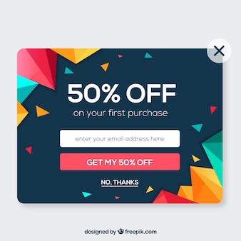 Colorful promotional pop up with flat design