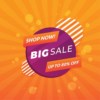 Colorful promotional sales banner design premium vector