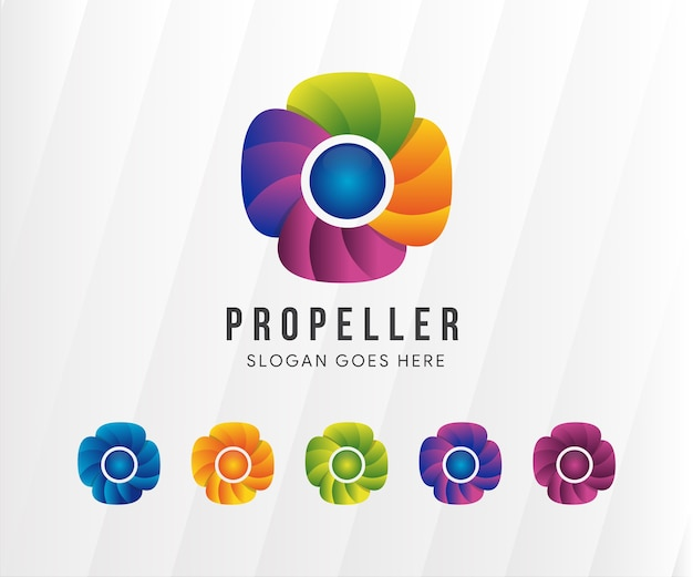 Colorful propeller logo and variations