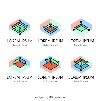 Colorful psychology logos with abstract shapes