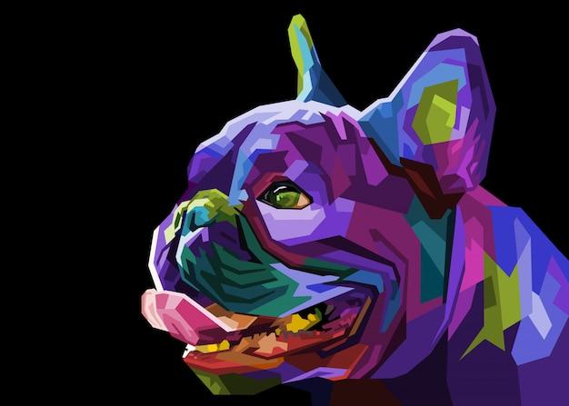 幾何学的なポップなアートスタイルのカラフルなパグ頭犬