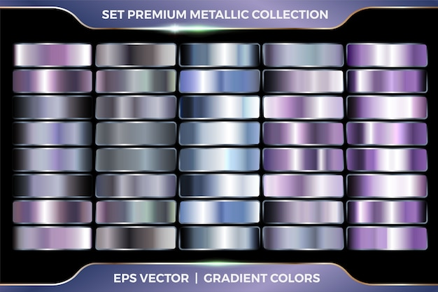 Colorful purple and azure collection of gradients large set of metallic silver palettes   template