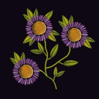 Colorful purple daisy flowers