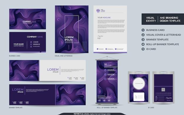 カラフルな紫の静止したビジュアルブランドアイデンティティセット。